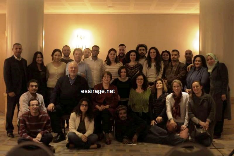 صورة جماعية للمشاركين في اجتماع المجموعة العربية للسياسات الثقافية عند اختتام أعمال الاجتماع (السراج)