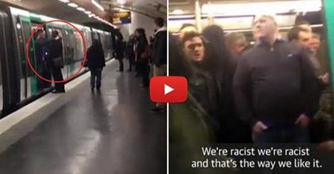 لقطة من الفيديو تظهر سيليمان سيلا وقد منعه المشجعون من الصعود إلى القطار في الجانب الأيسر، بينما في الجانب الأيمن صورة مشجعي النادي المتهمين بالتصرف العنصري (وكالات)