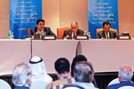 جانب من جلسات المؤتمر الت 26 للاتحاد العام للادباء والكتاب العرب المقام بأبو ظبي (وكالات)