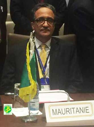 وزير الخارجية الموريتاني خلال حضوره اجتماع اللجنة رفيعة المستوى السبت الماضي