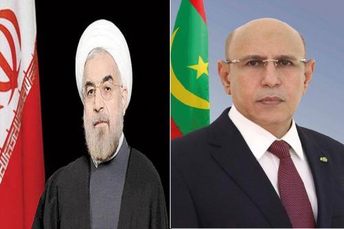 الرئيس الموريتاني محمد ولد الشيخ الغزواني ونظيره الإيراني حسن روحاني