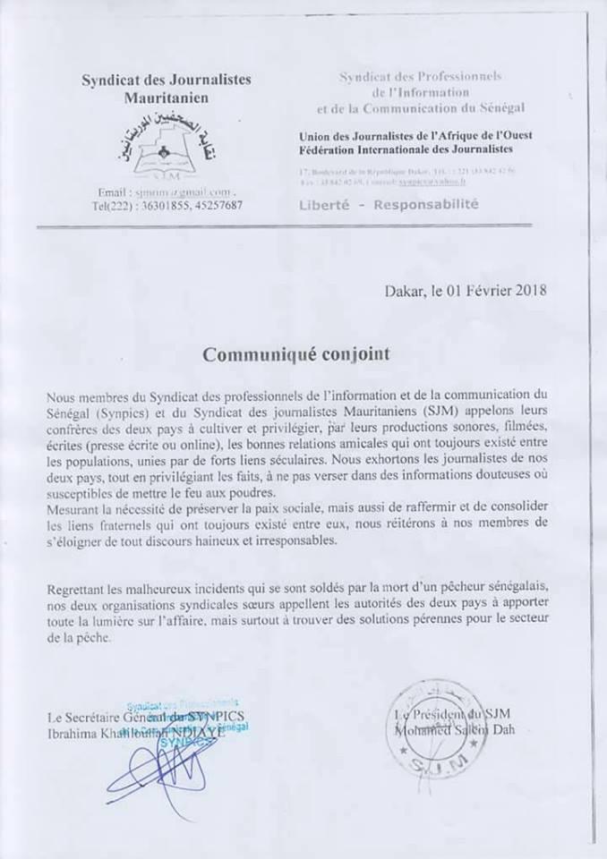 صورة من البيان المشترك باللغة الفرنسية