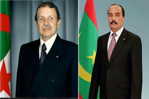 الرئيسان الموريتاني محمد ولد عبد العزيز والجزائري عبد العزيز بوتفليقة.