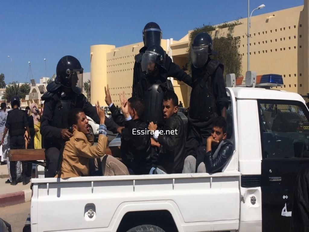 بعض المعتقلين في التظاهرة
