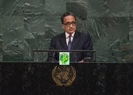 ولد إزيد بيه خلال إلقائه الكلمة بحضور الرئيس الموريتاني في نيويورك