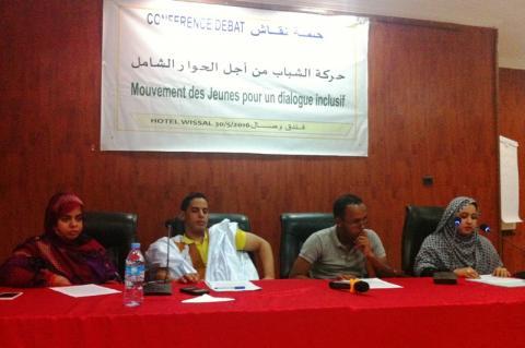 منصة حلقة النقاش التي نظمتها مبادرة حركة الشباب من اجل الحوار الشامل الاثنين بنواكشوط (السراج)