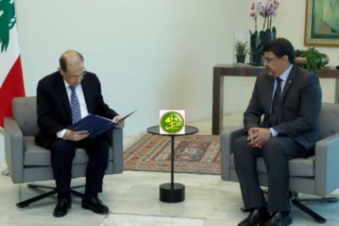 الرئيس اللبناني ميشيل عون ووزير الثقافة سيدي محمد ولد محم