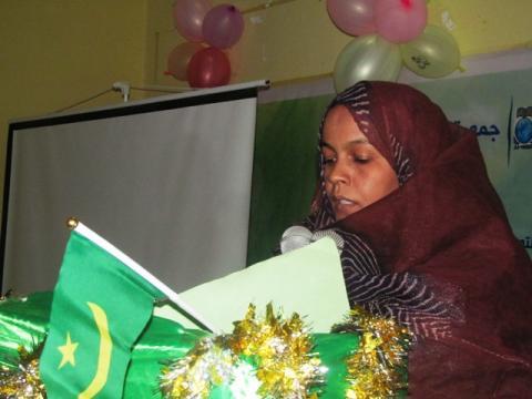 الأمينة العامة لجمعية الفتاة زينب بنت الشيخ خلال إلقاءها لكلمة الحفل (السراج)