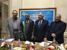 صورة جماعية للباحث الموريتاني برفقة الأساتذة المشرفين على الأطروحة