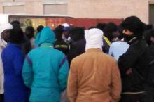 """جانب من وقفة احتجاجية نظمها عمال شركة """"اسنيم"""" بمدينة نواذيبو (السراج)"""