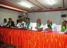 جانب من المؤتمر الصحفي للتنسيقية النقابية لعمال موريتانيا ظهر الثلاثاء 24 نوفمبر 2015 (السراج)