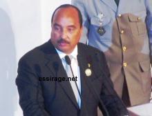 رئيس موريتانيا محمد ولد عبد العزيز أثناء إلقاء كلمته في قمة رؤساء الدول والحكومات لوكالة السور الأخضر الكبير (تصوير - السراج)