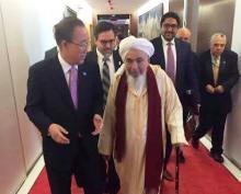جانب من لقاء الشيخ عبد الله بن بيه بالأمين العام للأمم المتحدة بان كي مون (السراج)