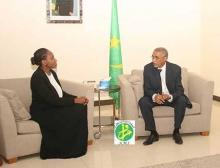 جانب من لقاء الوزير الأول الموريتاني يحيى ولد حدمين بمسؤولة الصندوق الدولي (وم أ)