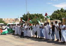 جانب من الوقفة الاحتجاجية أمام ممثلية الأمم المتحدة بالعاصمة الموريتانية نواكشوط نصرة للقدس (السراج)
