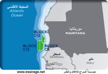 خريطة تبين مواقع قطاعات التنقيب التي قامت بها شركة كوسموس للبحث عن الغاز في المياه الموريتانية حيث بدأت في التنقيب عن الغاز في موضع حفر جديد إلى الجنوب الموريتاني (السراج)