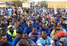 جانب من احتجاجات عمال اسنيم المضربين  بمدينة ازويرات (أرشيف)