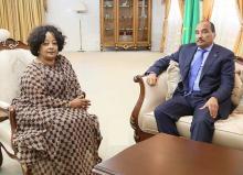 لقاء رئيس موريتانيا محمد ولد عبد العزيز بالمبعوثة الأممية غبري سالاسيي في القصر الرئاسي بنواكشوط (وم أ)