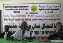 المنصة الرسمية لمؤتمر النقابة الحرة للمعلمين الموريتانيين (تصوير - السراج)