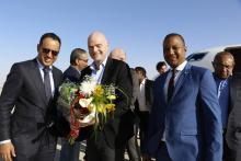 جياني إنفانتينو ووزير الرياضة ورئيس الاتحادية الموريتانيين