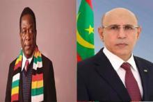 الرئيس الموريتاني محمد ولد الشيخ الغزواني ورئيس زيمبابوي إميرسون منانغاغوا