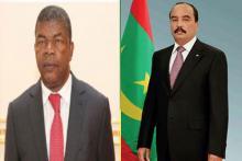 الرئيسان الموريتاني محمد ولد عبد العزيز والأنغولي جواو لورينسو.