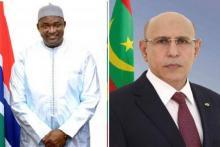 الرئيسان الموريتاني محمد ولد الشيخ الغزواني والغامبي آدما بارو
