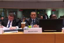 وزير الشؤون الخارجية والتعاون إسماعيل ولد الشيخ أحمد لدى مشاركته في اللقاء الوزاري.