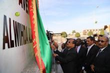 الرئيس محمد ولد عبد العزيز لدى إزاحته الستار عن الإسم الجديد لشارع جمال عبد الناصر بنواكشوط.