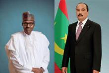 الرئيسان الموريتاني محمد ولد عبد العزيز والنيجيري محمدو بخاري.