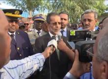 الوزير الأول إسماعيل ولد بده ولد الشيخ سيديا خلال تصريحه من مدينة النعمة