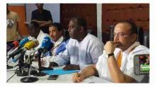 مترشحو المعارضة للانتخابات الرئاسية خلال مؤتمر صحفي سابق
