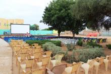 جانب من تجهيزات النسخة العاشرة من مهرجان نواكشوط للفلم القصير (السراج)