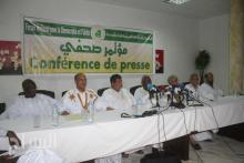قادة الملتقي خلال المؤتمر الصحفي