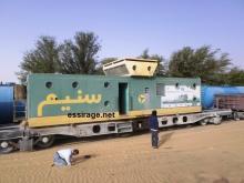 """قطار شركة اسنيم وهو متوقف عند بلدة """"بو لنوار"""" على مقربة من مدينة نواذيبو (السراج)"""