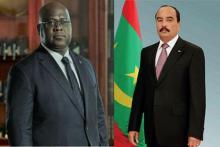 الرئيس الموريتاني محمد ولد عبد العزيز والمترشح الكونغولي المعلن رئيسا للبلاد فيليكس تشيسكيدي.